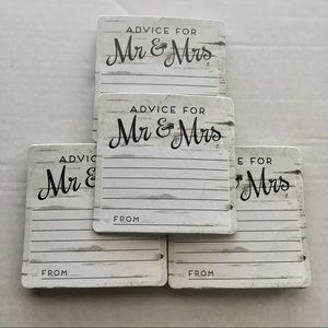 Other - New Wedding Shower Advice Coasters Set of 32 White
